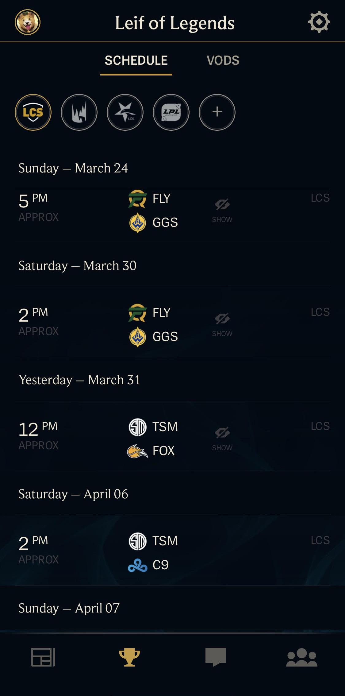 Esports in the League Friends app! | League of Legends